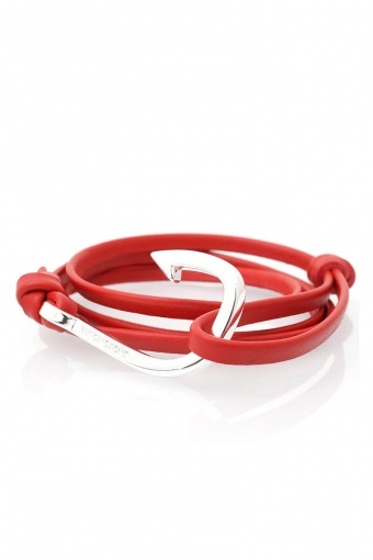Hook Leather Armbånd Red/Silver