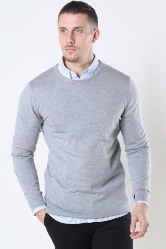 Merino Wool Crew Strik Light Grey Mel