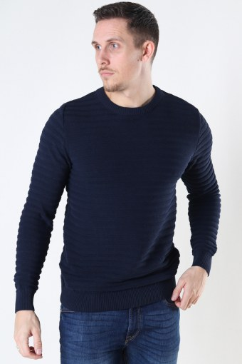 Atlas Recycled cotton crew neck knit Navy