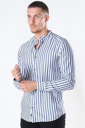 Edwin Life LS Stripe Mandarine Skjorte Dark Navy