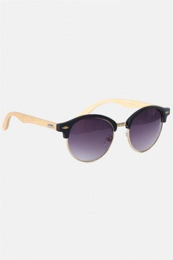 Fashion Round Club Brown Havana Rubber Solbrille Bamboo
