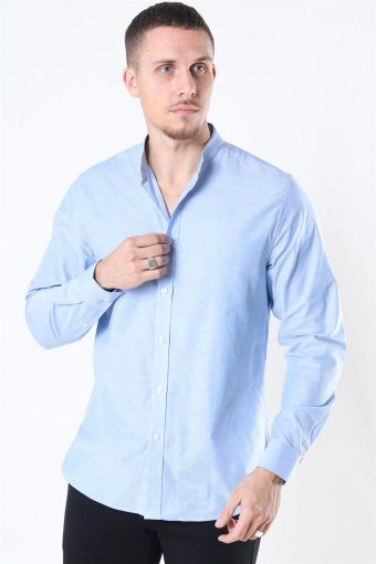 Clean Cut Oxford Stretch Mao L/S Skjorte Light Blue