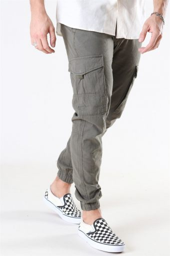 Jack & Jones Paul Flake Linen Cargo Pants Olive Night