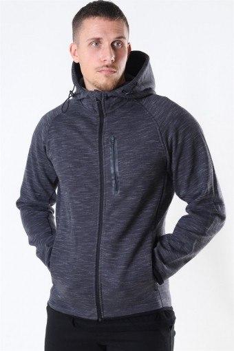 Jack & Jones Sport Sweat Zip Hood Dark Grey Melange