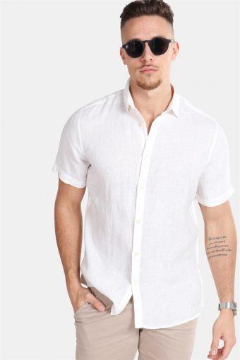 Caiden SS Linen Skjorte R White