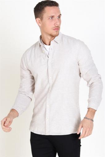Caiden LS Solid Linen Skjorte Chinchilla