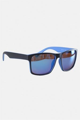 Fashion 1391 Mat Black/Blue Solbrille Brown Lens/Blue Mirror