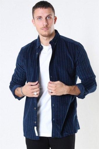 Edward Striped Corduroy Skjorte Dress Blues