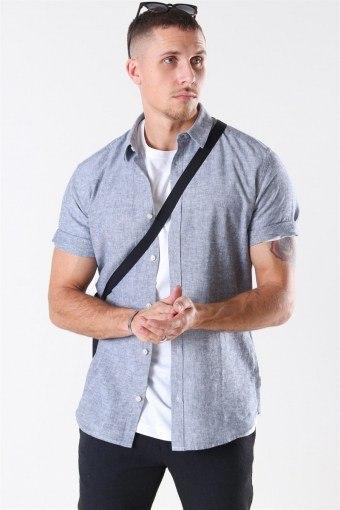 Caiden S/S Linen Skjorte Dress Blues
