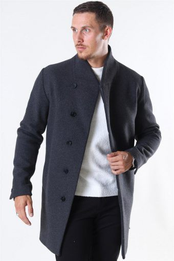 Jack & Jones Collum Wool Coat Dark Grey