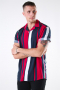 Only & Sons Vilas S/S Reverse Viscose Skjorte Persian Red Stripes