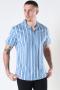 Kronstadt Cuba printed stripe s/s shirt Light Blue