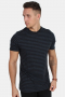 Basic Brand T-shirt Striped Heather Blue/Black