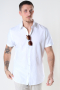 Selected SLHSLIMNEW-LINEN SHIRT SS CLASSIC W White